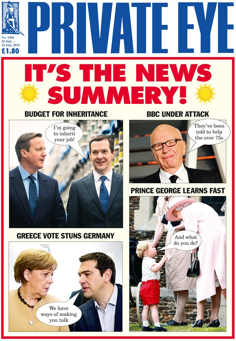 David Cameron George Osborne Rupert Murdoch Angela Merkel Alexis Tsipras Prince George The Queen