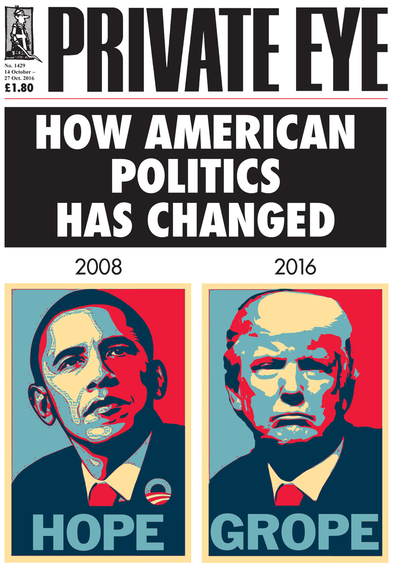 Private Eye cover Barack+Obama Donald+Trump